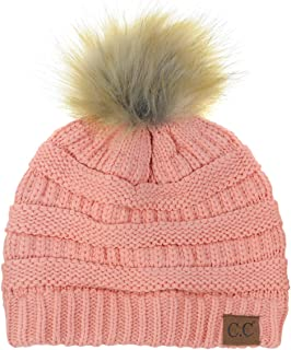 74eab03b521 NYFASHION101 Exclusive Soft Stretch Cable Knit Faux Fur Pom Pom Beanie Hat