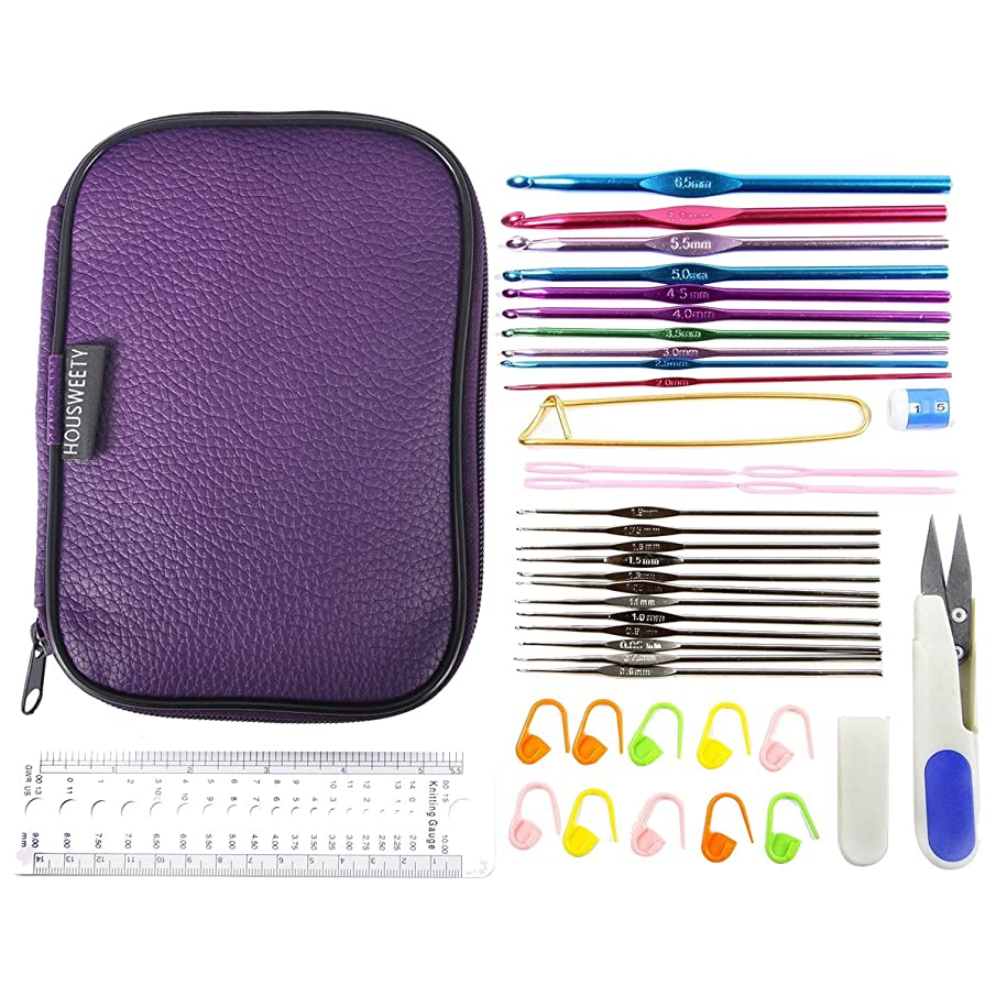 HOUSWEETY Mixed Aluminum Handle Crochet Hook Knitting Knit Needle Weave Yarn Set Full Kit