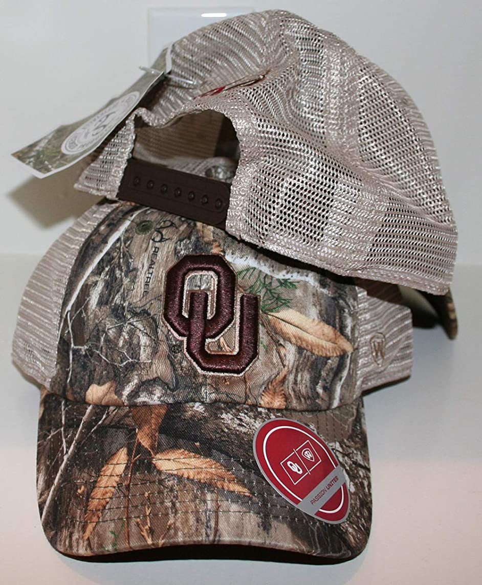 d1624fa36973fa ... University of Oklahoma OU Sooners Acorn Real Tree Camo Mesh Trucker  Adult Mens Baseball Hat/