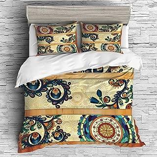 Home Luxury 4 Pieces Duvet Cover Bedding Sheet Set(Double Size) Batik Decor,Oriental Vintage Paisley Batik Pattern with Eastern Motif Elements Stylized in Flat Boho Decor,Multi