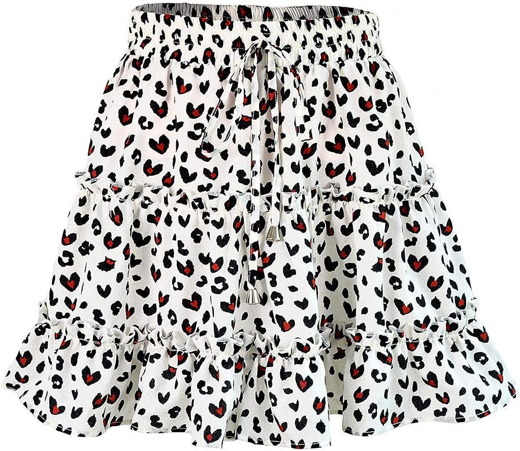 Womens A-Line Mini Dresses Summer Casual Bohe High Waist Lace-Up Ruffled Floral Print Beach Short Skirt (XL, White)
