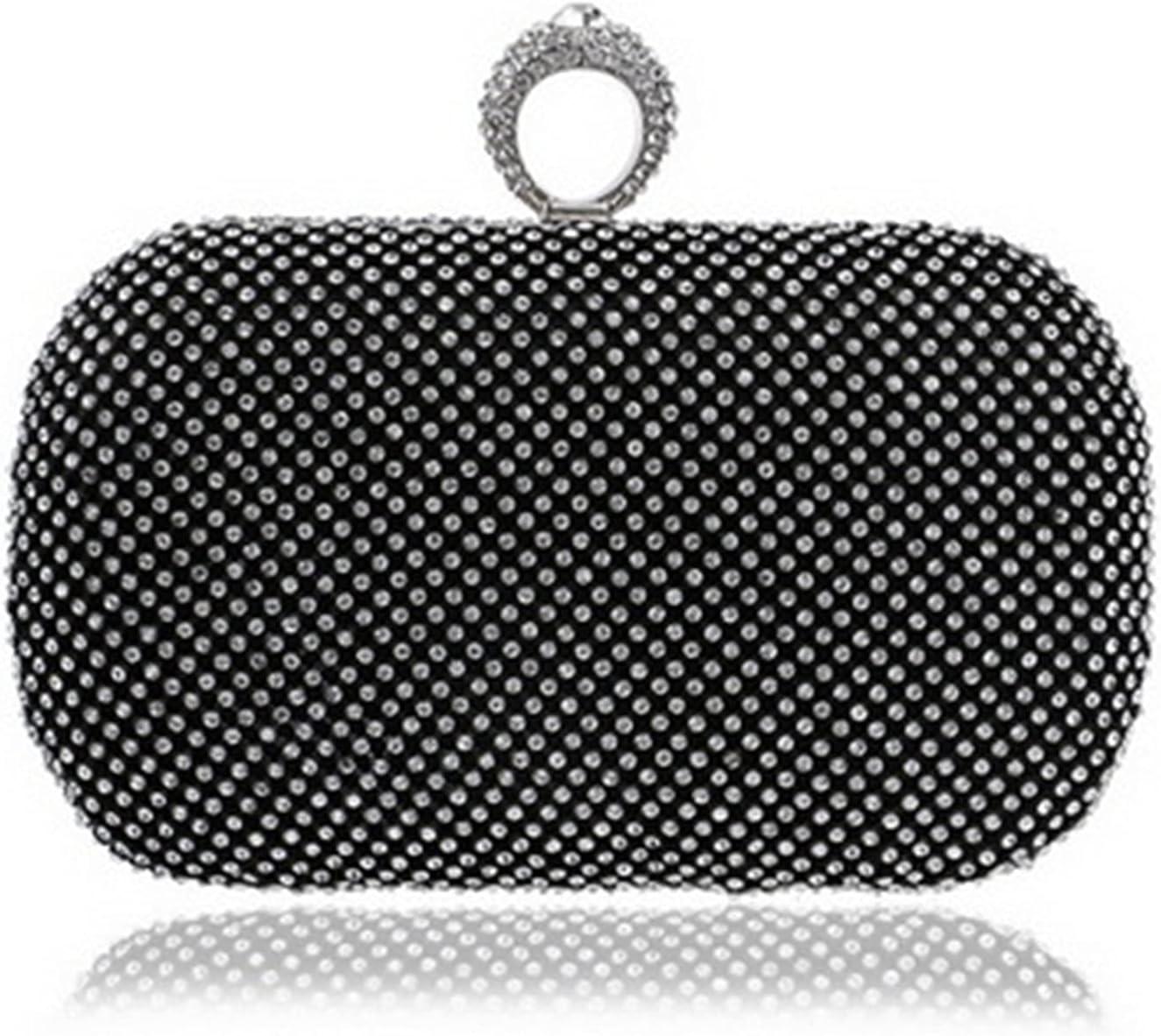 Evening Clutch Bag Luxury Women Clutch Chain Shoulder Party Evening Bags Wedding Handbags (Color : Black, Size : Small)