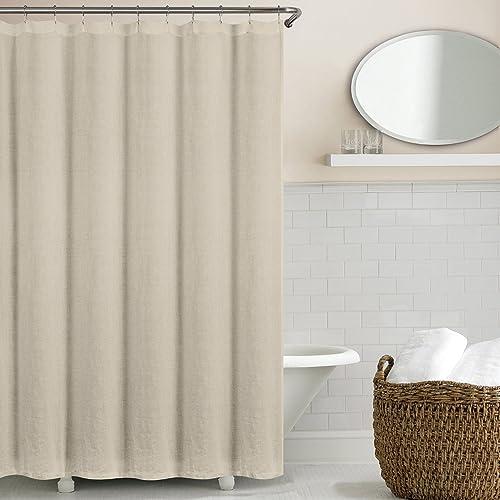 Echelon Home Washed Belgian Linen Shower Curtain Stone