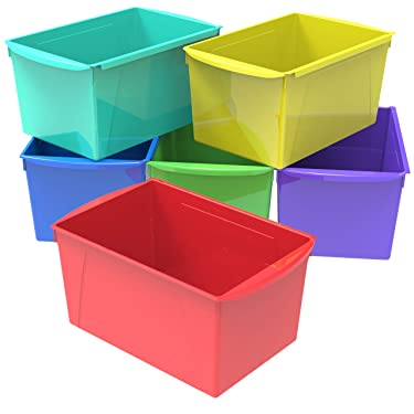 Storex Extra Large Book Bin, 14.5 x 9.2 x 7 Inches, Assorted Colors, Case of 6 (71126E06C)