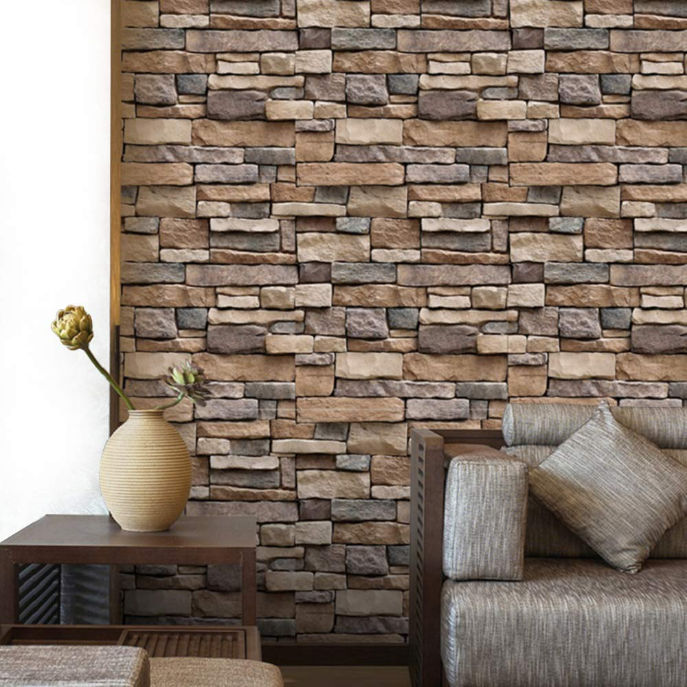 Yenhome 17 7 X 118 Removable 3d Stone Brick Wallpaper Stick And Peel Kitchen Backsplash Self Adhesive Wallpaper For Bedroom Wallcovering Living Room Wall Decor Wall Paper Buy Online In Cayman Islands At