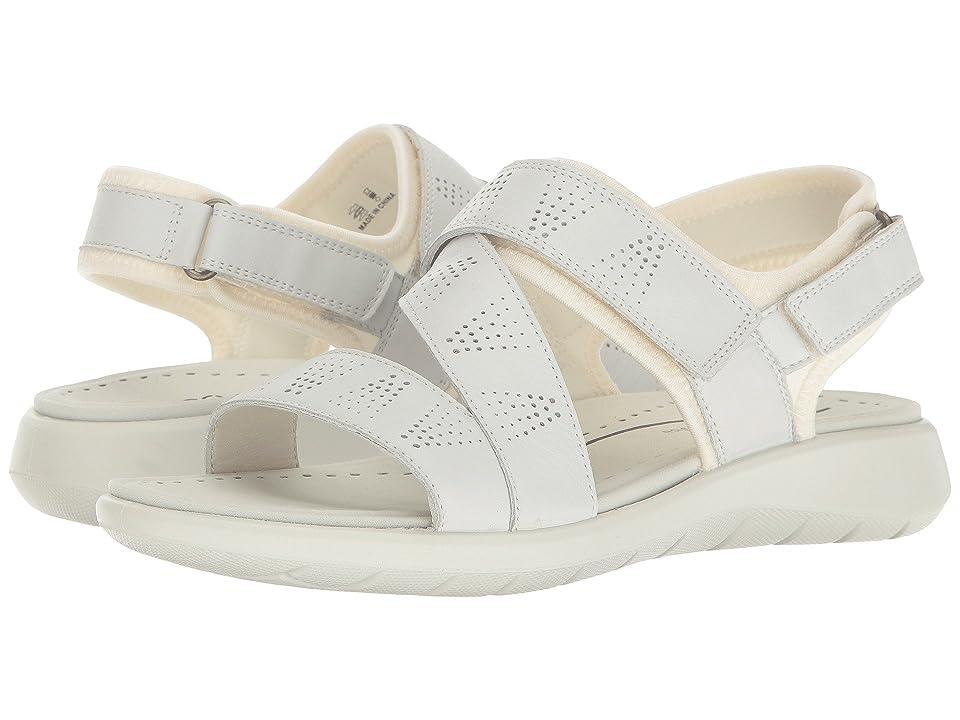 ECCO Soft 5 Cross-Strap Sandal (White/White Cow Leather/Textile) Women