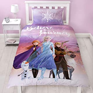 Frozen 2 Disney Single Polycotton Duvet Cover | Officially Licensed Reversible Two Sided Bedding Olaf, Anna, Elsa, Kristof...