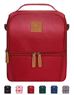 Elvira Insulated Dual Compartment Lunch Bag for Women Men, Large Leakproof Cooler Tote Bag with Removable Shoulder Strap for Work School Picnic Beach-Red
