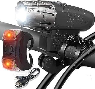 Rag & Sak® Bike Light,USB Rechargeable Bike Light Set Bicycle Headlight Free Tail Light, LED Front and Back Rear Lights fo...