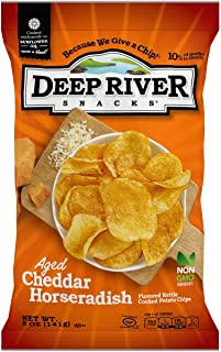 Deep River Snacks Kettle Potato Chips, Aged Cheddar Horseradish, 5-Ounce (Pack of 12), Gluten Free