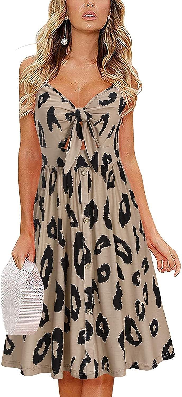 GEMLON Womens Sundress Front Tie Dress V Neck Sleeveless Adjustable Strappy Summer Casual Midi Dress with Pockets