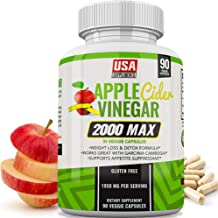 Apple Cider Vinegar Capsules for Weight Loss | 1,950mg | 100% Pure Raw Organic Veggie Caps | Detox, Healthy Blood Sugar, Digestion, Appetite Suppressant & ACV Bloating Relief Pills for Women & Men