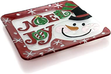 Tabletop Snowman Fusion Plate, Glass, Christmas, Decorative Platters, 2009190 Noel
