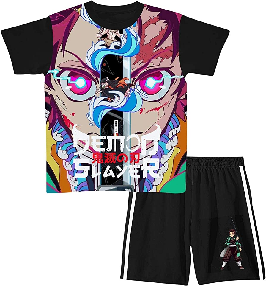 Demon SLA-yer Boys Girls Short Sleeve T-Shirt & Shorts Sets Outfit Shorts Suit Summer 2 Pieces Shorts Set for Boys Girls