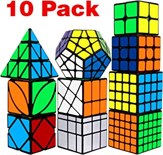 Speed Cube Set, Libay Cube Bundle 2x2 3x3 4x4 5x5 Pyramid Megaminx Skew Mirror Ivy Windmill Sticker Magic Cube Collection - Puzzles Cube Toys Gift for Kids and Adults Set of 10