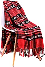 JUDYBRIDAL Plaid Chenille Throw Blanket Extra Soft Blanket All-Season Dual-Sided Home Decor Blankets with 3 Inches Tassels for Bed Sofa Couch Chair 50