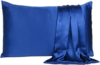 "Vedanta Sales Satin 600 TC Pillow Cover (Navy Blue_20""X26"")"