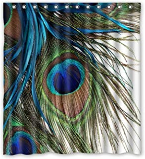KXMDXA Colorful Peacock Feathers Waterproof Polyester Bath Shower Curtain Size 66x72 Inch