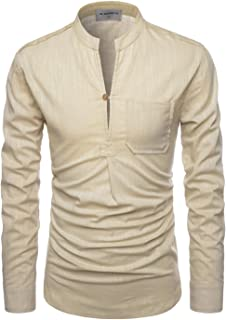 Roll up Long Sleeve Linen Banded Collar Slim fit Henley Shirts for Men