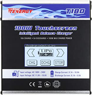 Tenergy T180 100W Balance Charger Discharger, Touch Screen RC Battery Charger for NiMH/NiCd/Li-Po/Li-Fe Packs, Durable Metal Housing, LiPo Battery Charger w/ Tamiya/JST/EC3/HiTec/Deans Connectors