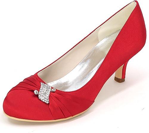 Eleboeb Femmes Chaussures de Mariage Demoiselle d'honneur Kitten Ivory Sandales Standard Bas Talons Nouveau   6.5cm Talon