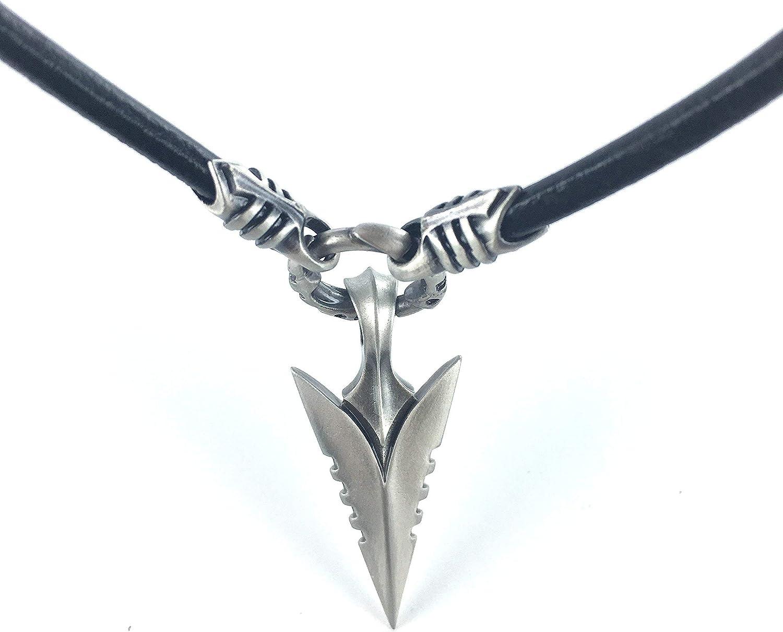 Bico Australia Men's price Fashionable Black Leather Arrowhead Penda with Necklace