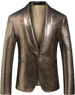 YOUTHUP Mens Sequin Blazer Fancy Shawl Lapel Tuxedo Coat Slim Fit Wedding Suit Jacket