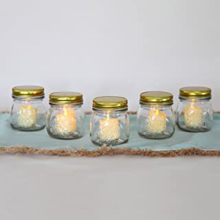 Glass Jar Votive Candle Holders - Mason Jars with Flameless Resin Flickering Votives, 3.5 Inch Height, Rustic Wedding Centerpiece, Batteries Included, Indoor Outdoor Use - Set of 5