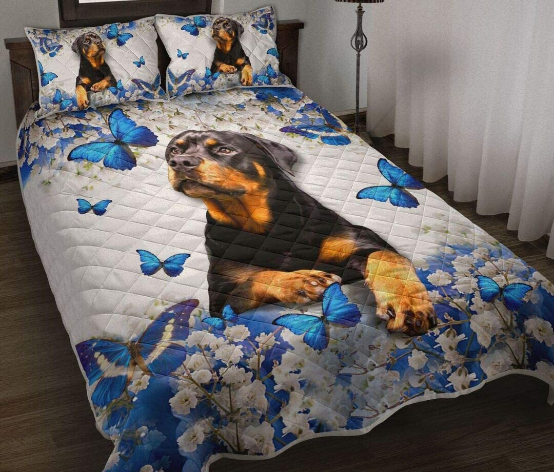 High quality new Mail order cheap Personalized Rottweiler and Blue Butterfly Quilt Gi Art Birthday