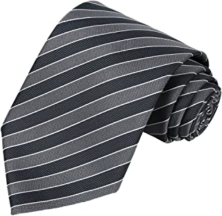 KissTies Tall Men Navy Extra Long Tie Blue Striped Necktie + Gift Box(63'' XL)