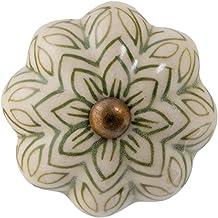 Nicola Spring Ceramic kasttreklade Knop - Vintage Design Flower - Olive Green