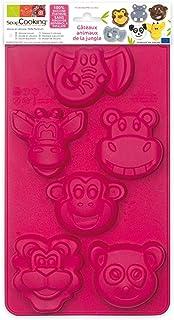 SCRAP COOKING 3156 Moule-Animaux de la Jungle, Silicone, Rose, 33 x 17,5 x 2,5 cm