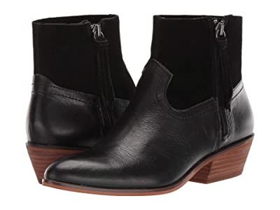 FRYE AND CO. Rubie Zip (Black Smooth Leather/Suede) Women