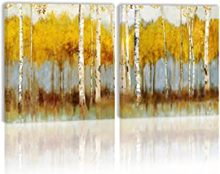 Yellow Autumn Tree Forest Wall Art Decor Canvas Painting Kitchen Prints Pictures for Home Living Dining Room