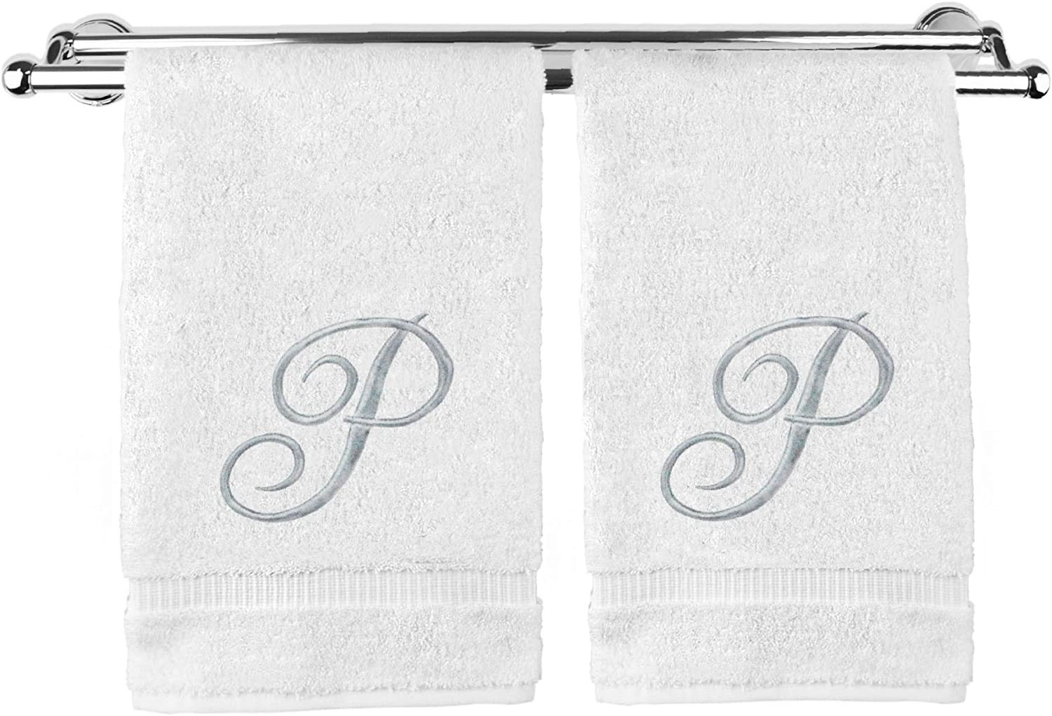 Monogrammed Hand Towel, Personalized Gift, 16 x 30 Inches - Set of 2 - Silver Embroidered Towel - Extra Absorbent 100% Turkish Cotton- Soft Terry Finish - for Bathroom, Kitchen and Spa- Script M Gray: Home & Kitchen