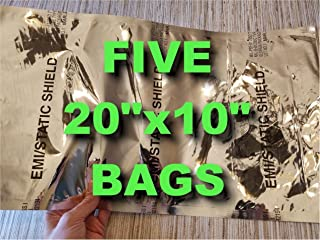 5 LARGE 20x10 MILITARY ANTISTATIC BAGS FARADAY CAGE ESD PREPPER EMP SURVIVALISTS