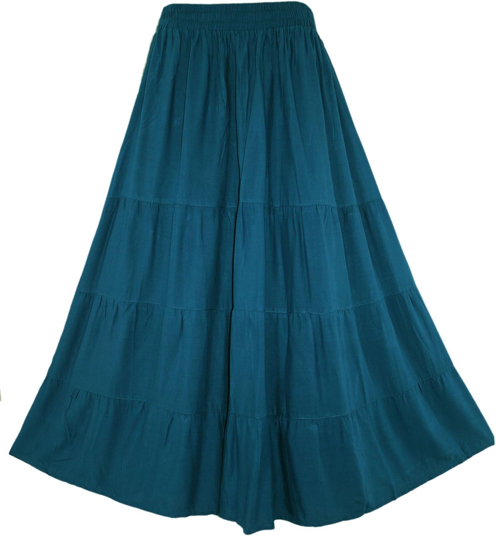 Beautybatik Women Boho Gypsy Long Maxi Tiered Peasant Skirt Plus Size