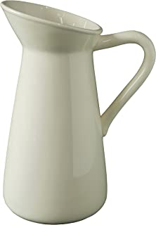 Hosley Cream Ceramic Pitcher Vase is 10 Inches High and is Perfect for Flowers or Decorative Use and is Ideal for Dried Floral Arrangements Gifts for Home Weddings Spa and Aromatherapy Settings O3