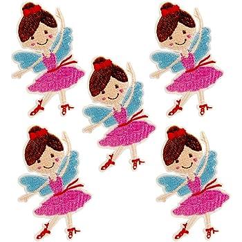 huixun bailarina niña flores parche para la ropa hierro bordado en coser Applique parche insignia tela para prendas de vestir accesorios, 5 piezas: Amazon.es: Hogar