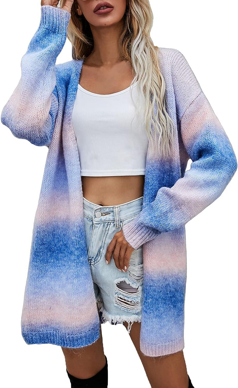 Women's Long Sleeve Tie Dye Rainbow Open Front Loose Knit Cardigan Sweater Coat with Pockets