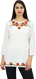 Phagun Women's Floral Embroidered Full Sleeve Casual Cotton Tunic Top