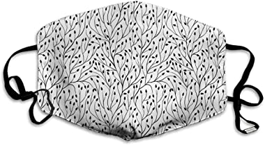 TENJONE Adult Washable and Reusable Facial Warm Windproof Outdoor Fashion Decorative mask,Monochrome Wedding Themed Floral Si