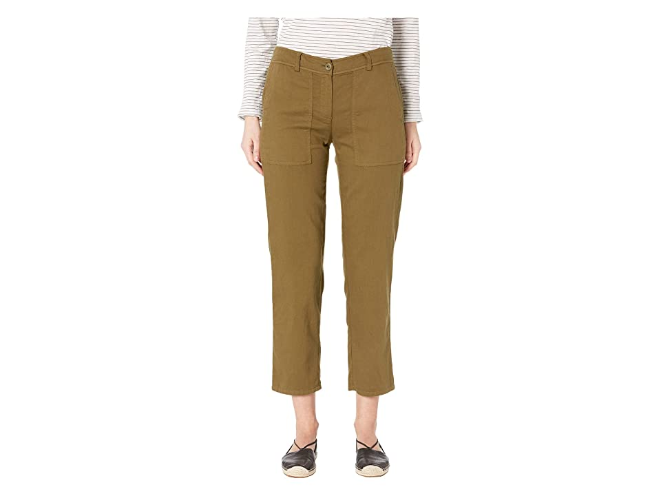 Eileen Fisher Slouchy Ankle Length Pants (Olive) Women