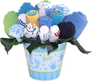 Baby bouquet made with baby clothes and accessories/Baby shower gift/Practical newborn gift for parents to be/New baby gift idea (Boys - Blue)