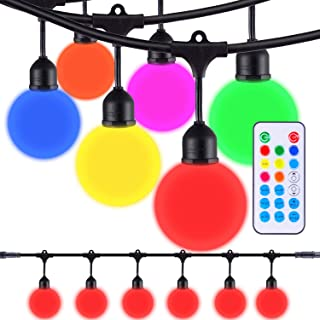 Areful Globe String Lights, 12FT Patio Lighting Strand with LED G40 Bulbs, Connectable, Remote Control, RGB Color Changing Mood Lighting