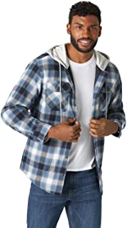 Wrangler Authentics Men's Long Sleeve Quilted Lined Flannel Shirt Jacket with Hood, Vintage Night, Large