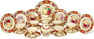 Euro Porcelain 24-pc. Vintage Tea Coffee Cup Dining Dessert Set, 24 kt Gold Plated Roses Decorated Antique Pictorial, Hand Painted Service for 6 Luxury Bone China Tableware (Red)