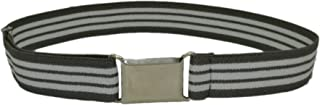 HOLD'EM Boys Toddler Belt - Silver Square Buckle - Grey and White Stripe