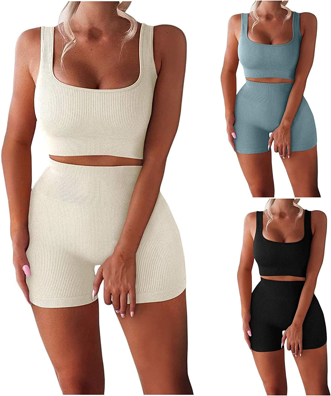 Workout Sets for Women 2 Piece Ribbed Stretchy Vest Slim High Waist Shorts Solid Color Comfy Yoga Sport Sets
