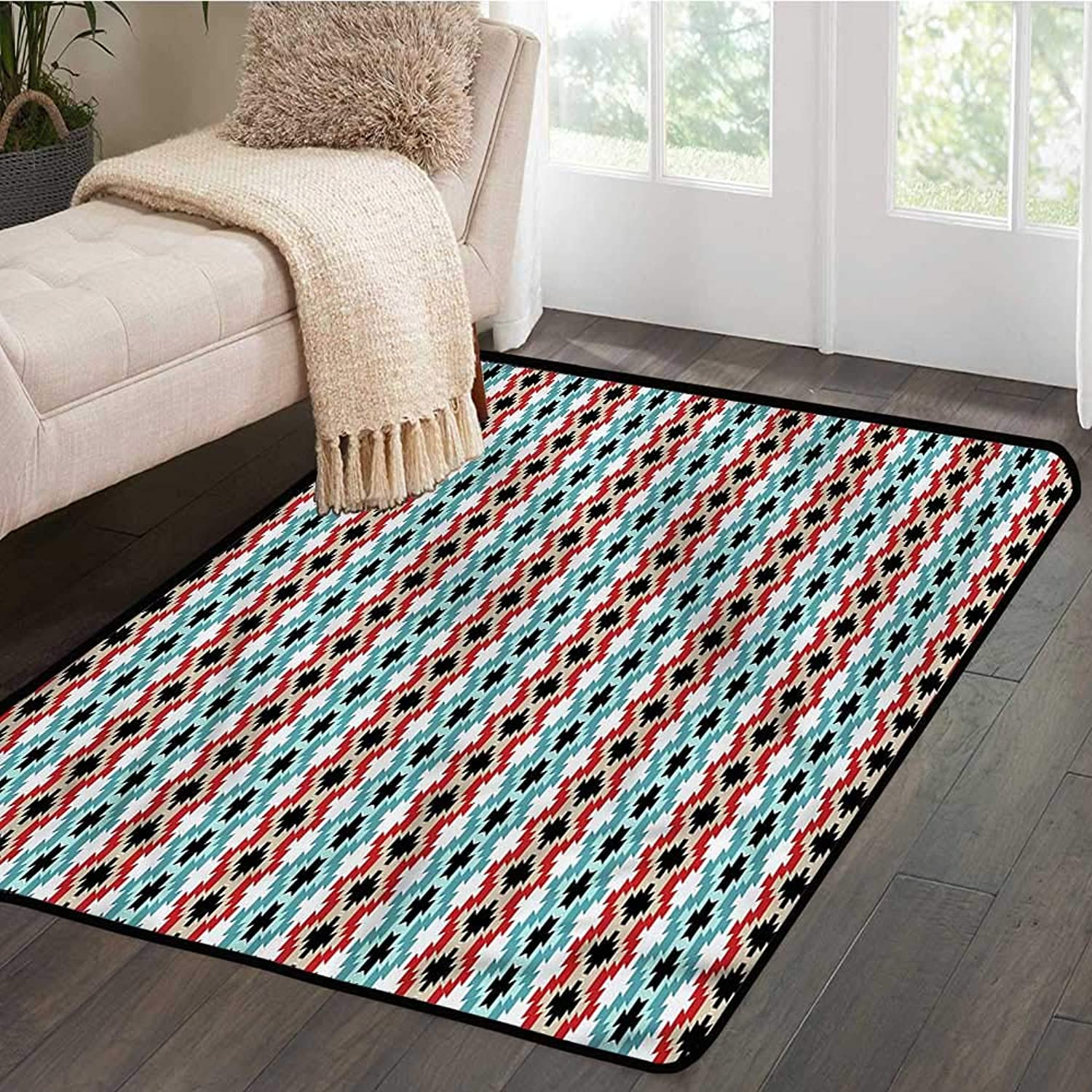 Kids rugsAfghan,colorful Ethnic MotifsW 55  x L63 Slip-Resistant Washable Entrance Doormat